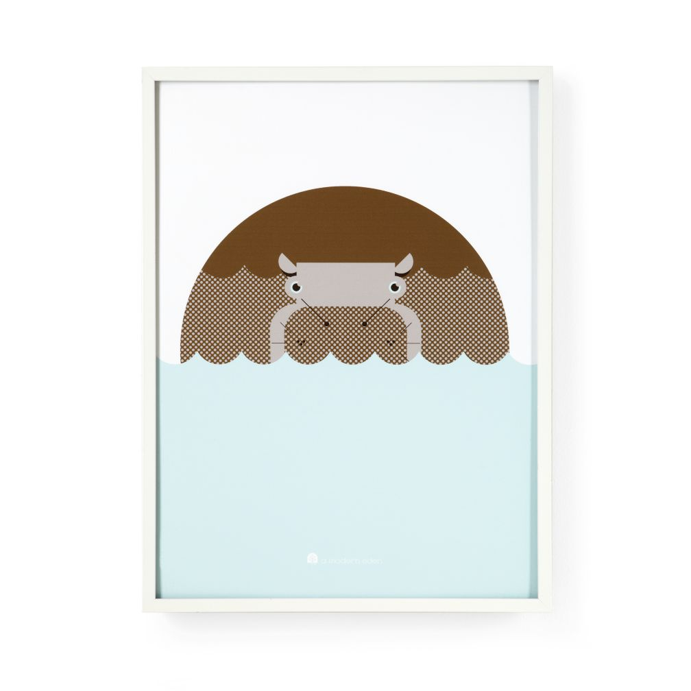 Kids Posters, Prints & Art: Kids Modern Hippo Wall Art