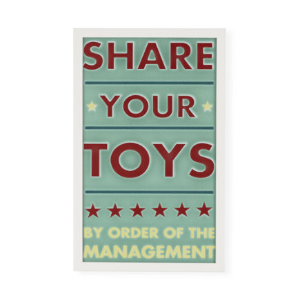 Kids Wall Art: Share Your Toys Wall Art - Framed Share Your Toys Wall Art