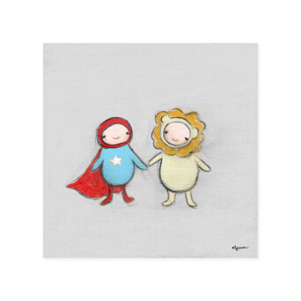 Creative Thursday Heros Canvas Wall Art - Superhero and Lion Wall Art