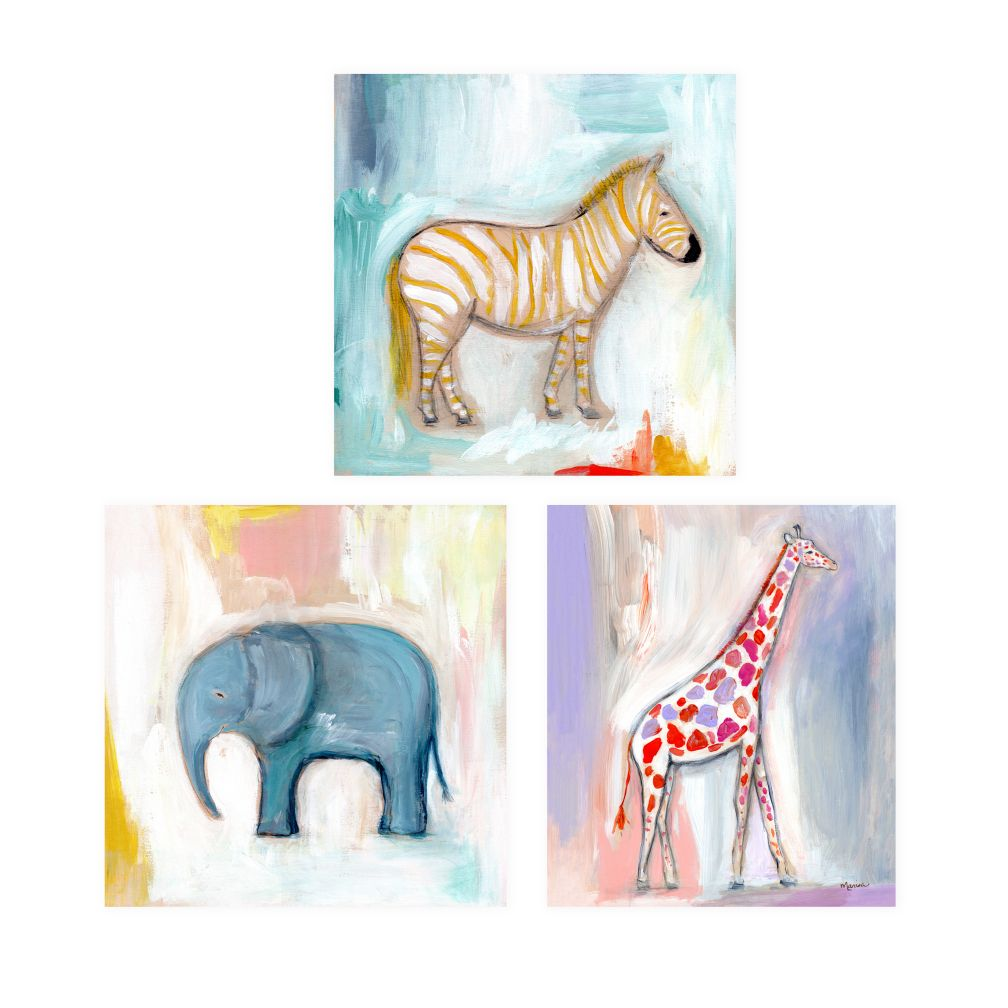 Wild Watercolor Canvas Wall Art (Set of 3)