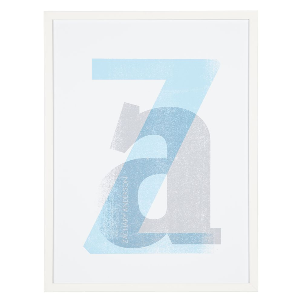 Personalized Stacked Initial Wall Art (Blue)