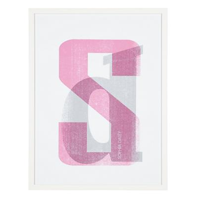 Personalized Stacked Initial Wall Art (Pink)