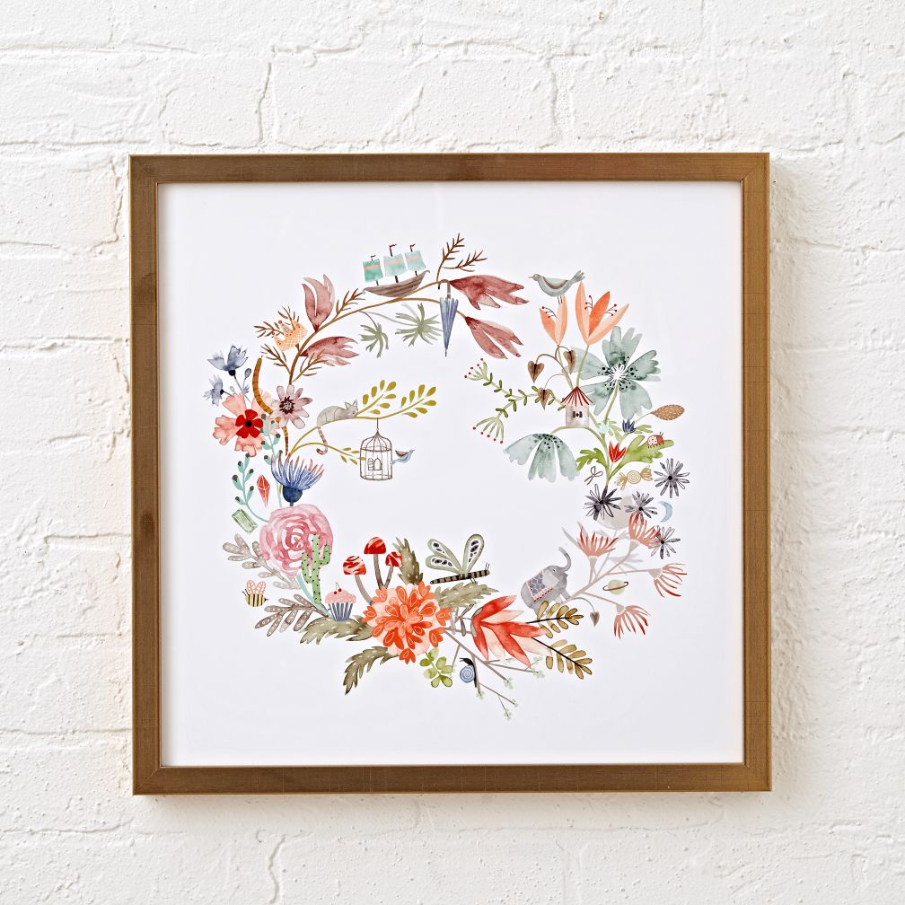 Eye Spy Floral Wreath Framed Wall Art