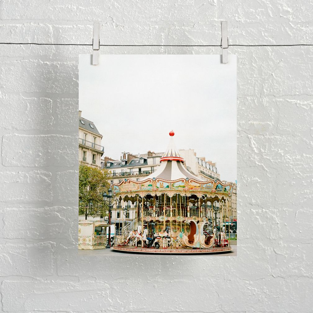 Unframed Paris Carousel Wall Art