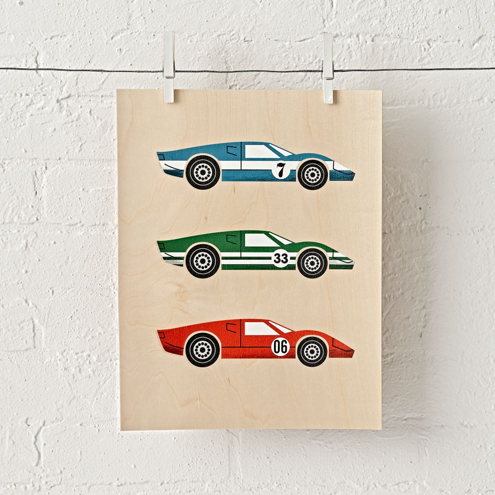 Racecar Trio Unframed Wall Art