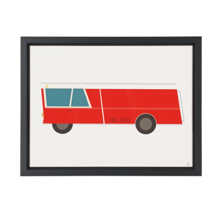 Time to Ride Wall Art (Fire Engine) - Fire Engine Time to Ride Framed Wall Art