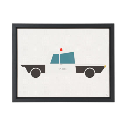 Time to Ride Wall Art (Police Car) - Police Car Time to Ride Framed Wall Art