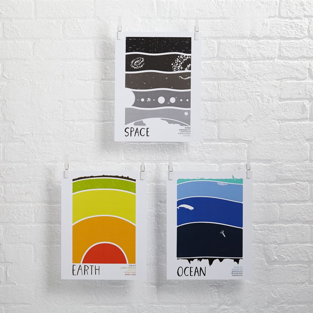 Earth Science Wall Art (Set of 3)