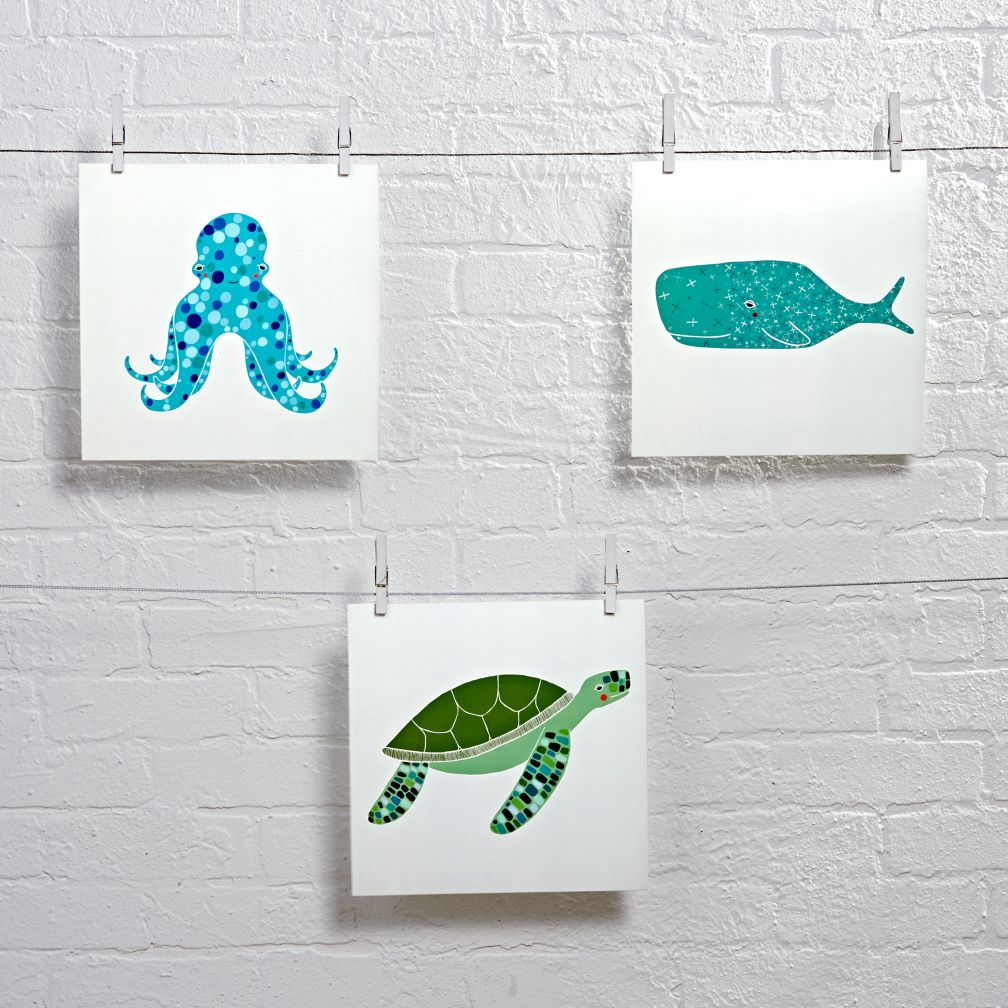 Unframed Under the Sea Wall Art (Set of 3)