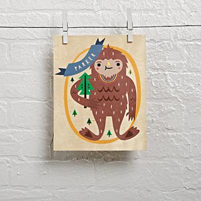 Wood Veneer Personalized Monster Wall Art