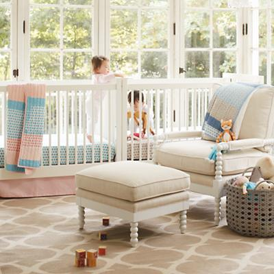 Patterned Print Crib Bedding (Blue)