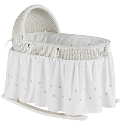 White Bassinet with Green Bedding Set