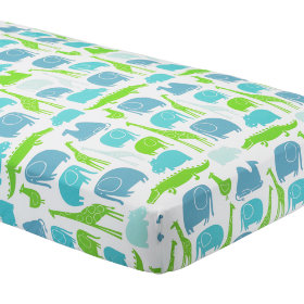 Fitted Sheet (Blue Zoo Print)