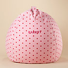 "40"" Personalized Pink Dots Bean Bag Chair Cover"