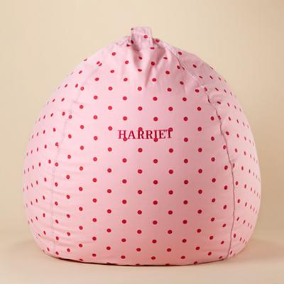 "40"" Personalized Bean Bag Chair Cover (Pink Dots)"