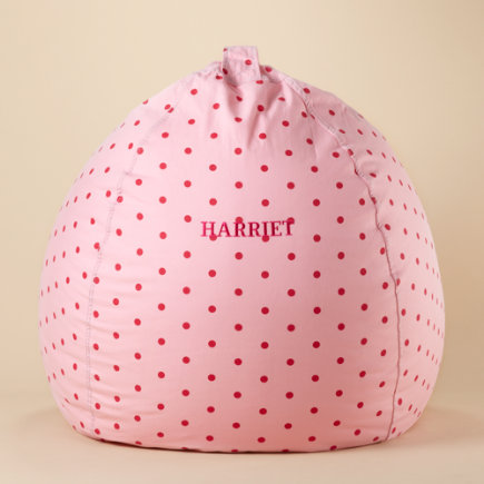 Kids Beanbags & Floor Cushions: Kids Pink Polka Dot Beanbags - 40 Pink Dots Personalized Bean Bag Chairincludes Cover and Insert