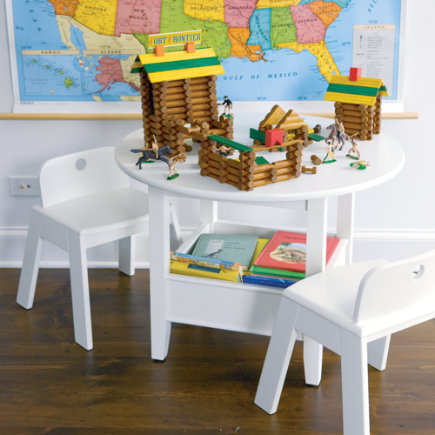 Kids Circular Solid Wood Storage Bin Table - White Bin Table