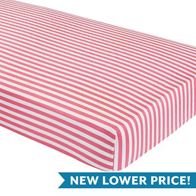 Hop to It Crib Fitted Sheet (Pink Stripe)