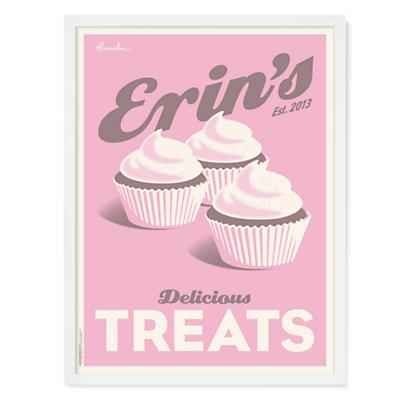 Cupcakes Personalized Wall Art (Pink)