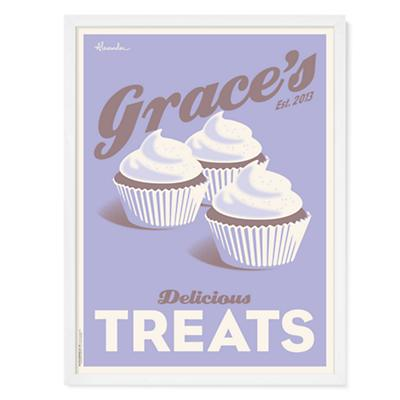 Cupcakes Personalized Wall Art (Purple)