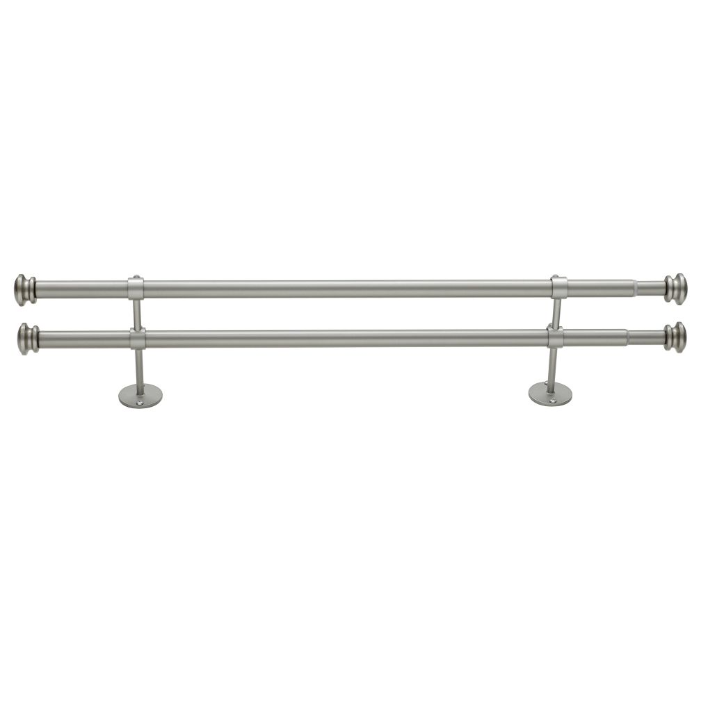 "28-48"" Button Cap Double Rod (Nickel)"