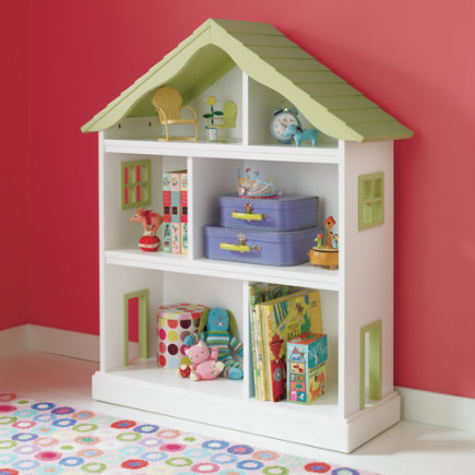 Kids Bookcases: Kids White Dollhouse Shaped Bookcase - Dollhouse Bookcase