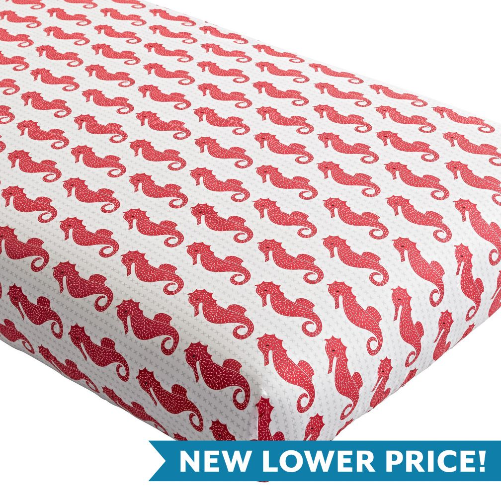 High Seas Crib Fitted Sheet (Seahorse)