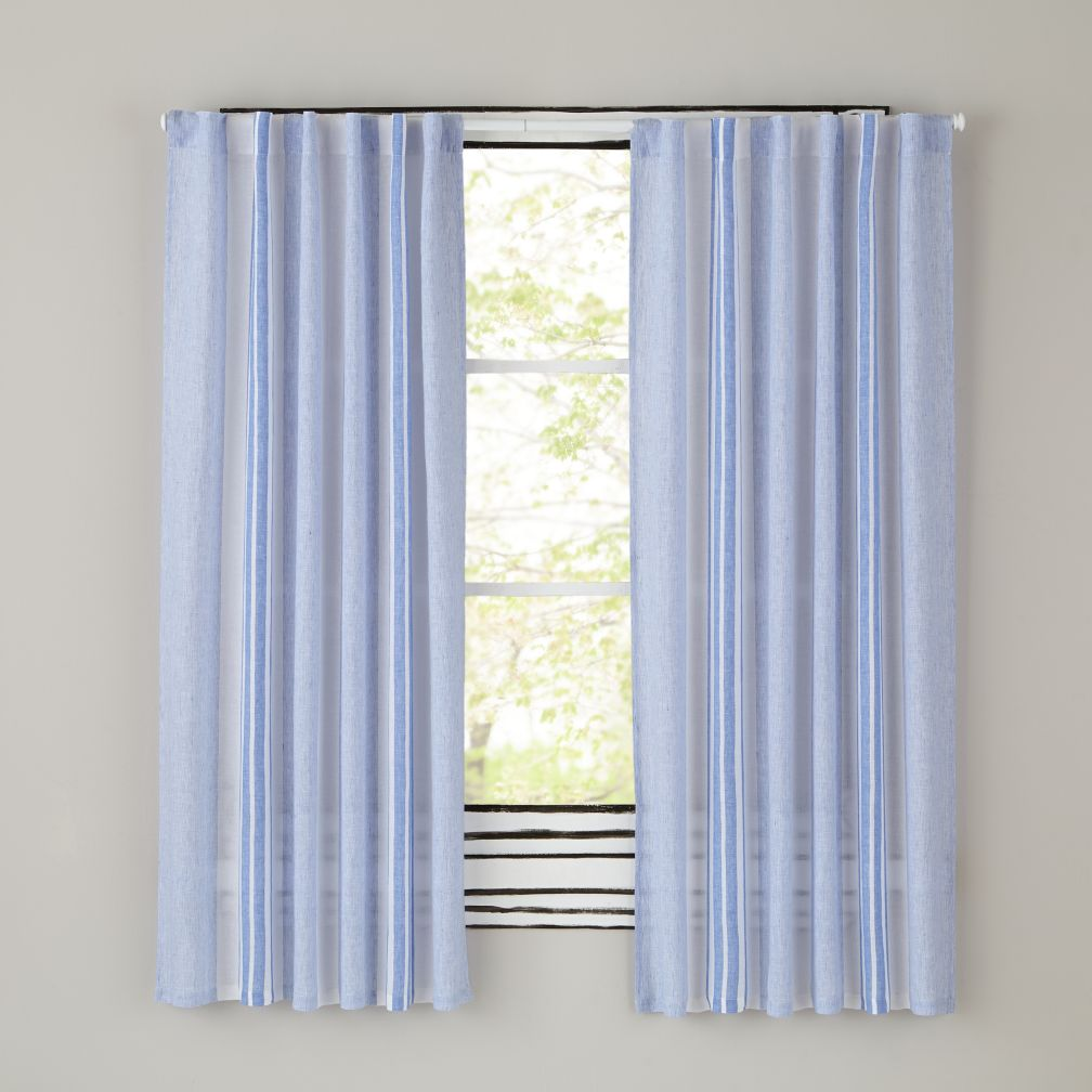 "96"" Blue Line Linen Curtain Panels"