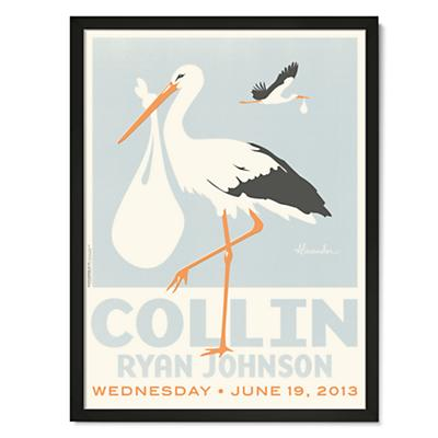 Stork Delivery Personalized Wall Art (Blue with Black Frame)