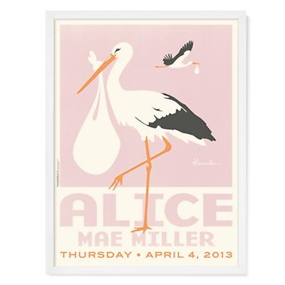 Stork Delivery Personalized Wall Art (Pink w/White Frame)