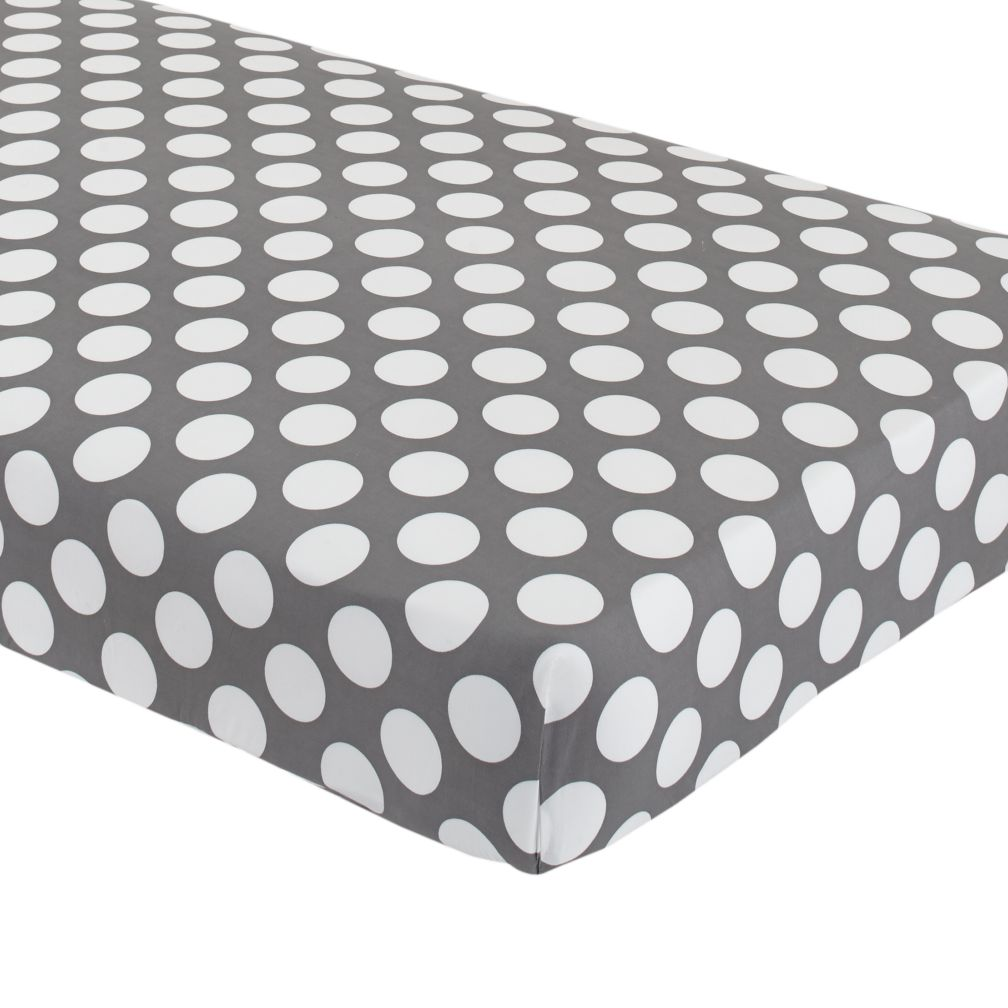 organic not a peep grey and white dot crib fitted sheet the land of nod