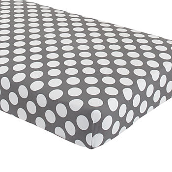 Organic Not a Peep Grey with White Dot Crib Fitted Sheet