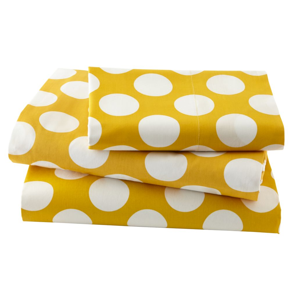 Organic New School Yellow and White Dot Twin Sheet Set