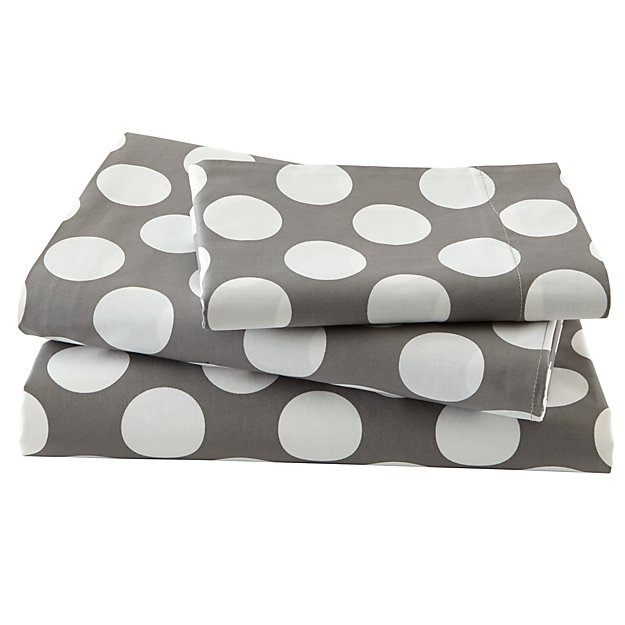 Organic New School Grey w/White Dot Twin Sheet Set