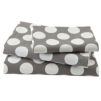 Organic New School Grey and White Dot Twin Sheet Set