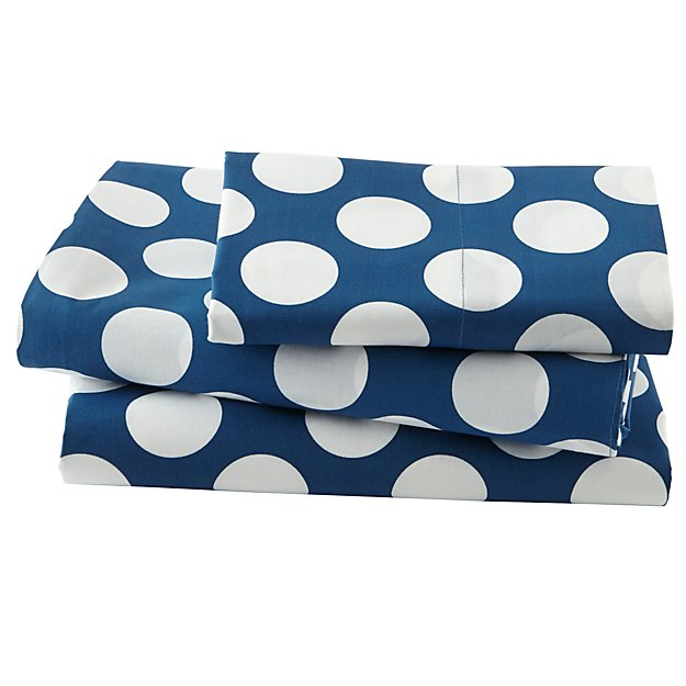 Organic New School Blue and White Dot Twin Sheet Set