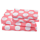 Queen Pink w/White Dot Sheet SetIncludes fitted sheet, flat sheet and two pillowcases