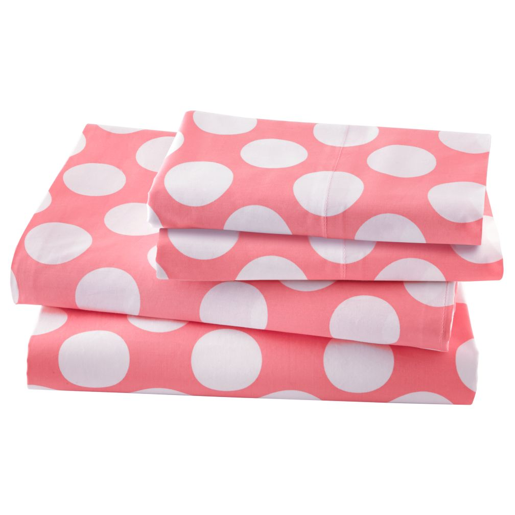 New School Pink w/White Dot Sheet Set (Full)