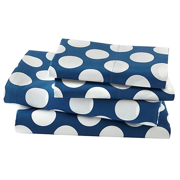 Organic New School Blue and White Dot Queen Sheet Set