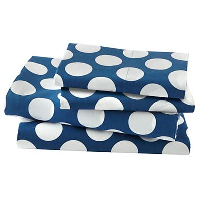 Organic New School Blue w/ White Dot Sheet Set