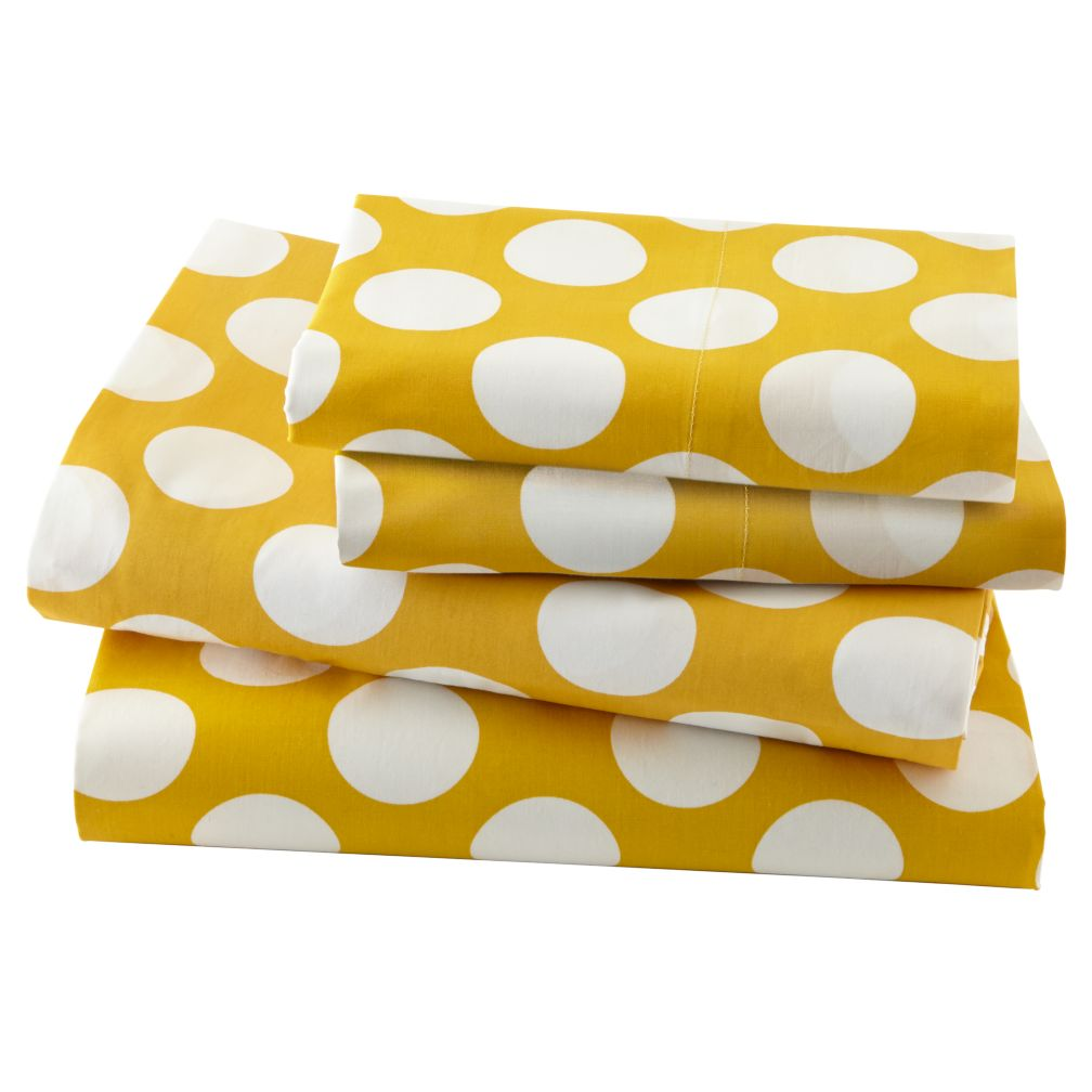 New School Yellow w/White Dot Sheet Set (Full)