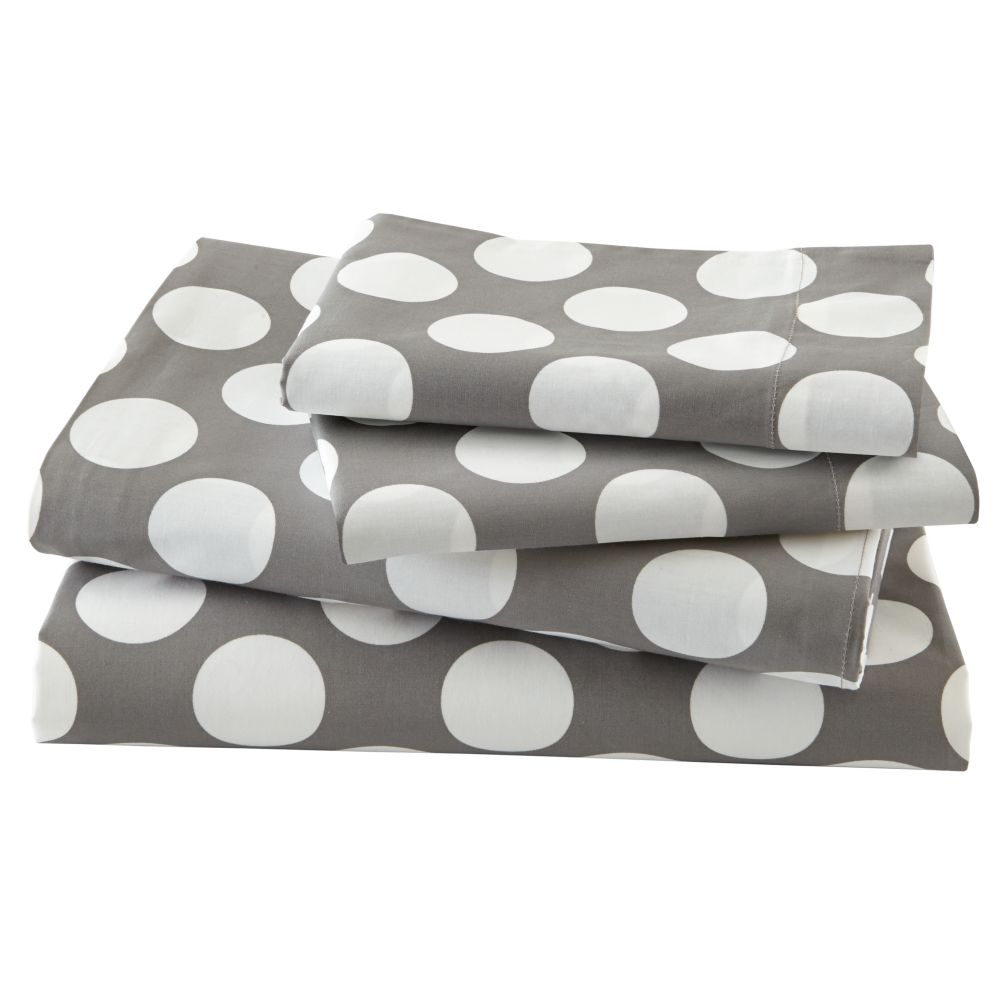 organic new school grey and white dot twin sheet set the land of nod