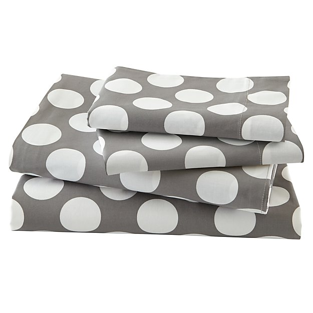 Organic New School Grey and White Dot Queen Sheet Set