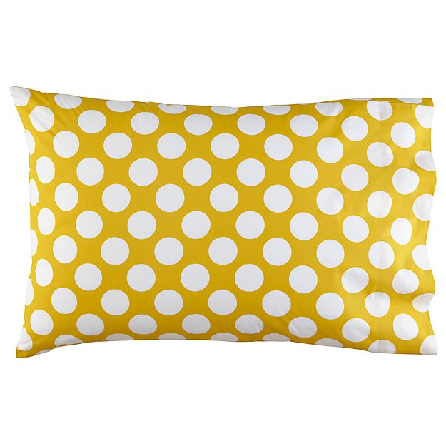 New School Yellow w/White Dot Organic Pillowcase