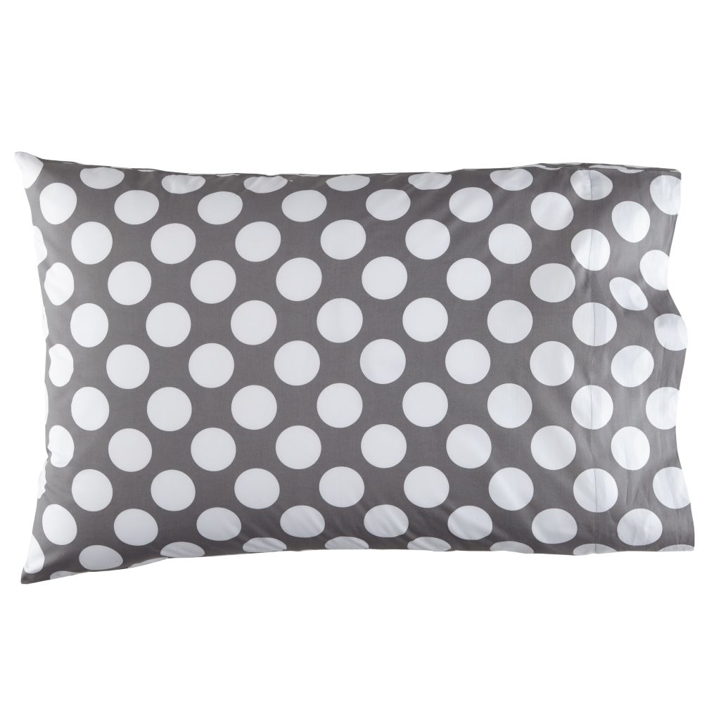 Organic New School New School Grey w/White Dot Pillowcase
