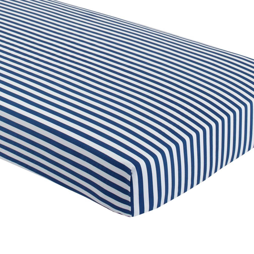 Organic Make a Splash Blue Stripe Crib Fitted Sheet
