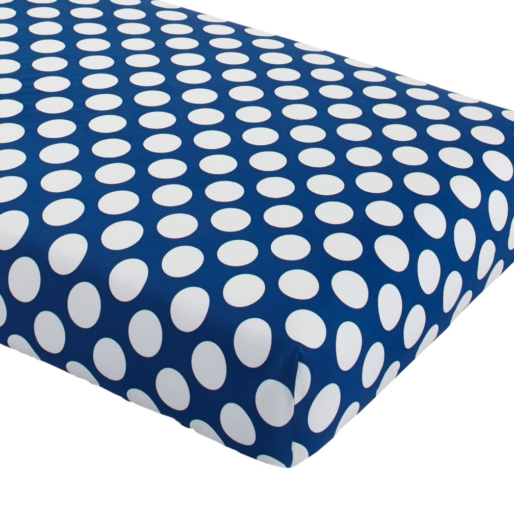 Blue polka dot bedding - Organic Make A Splash Blue And White Dot Crib Fitted Sheet The Land Of Nod