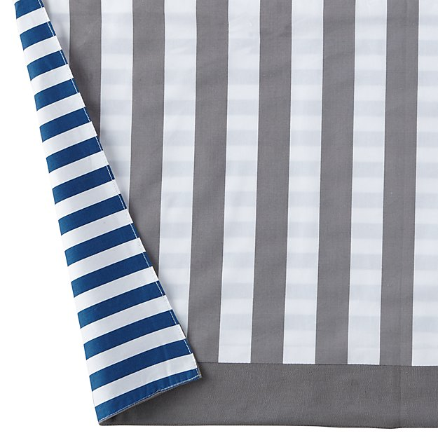 Organic Make a Splash Blue and Grey Reversible Crib Skirt