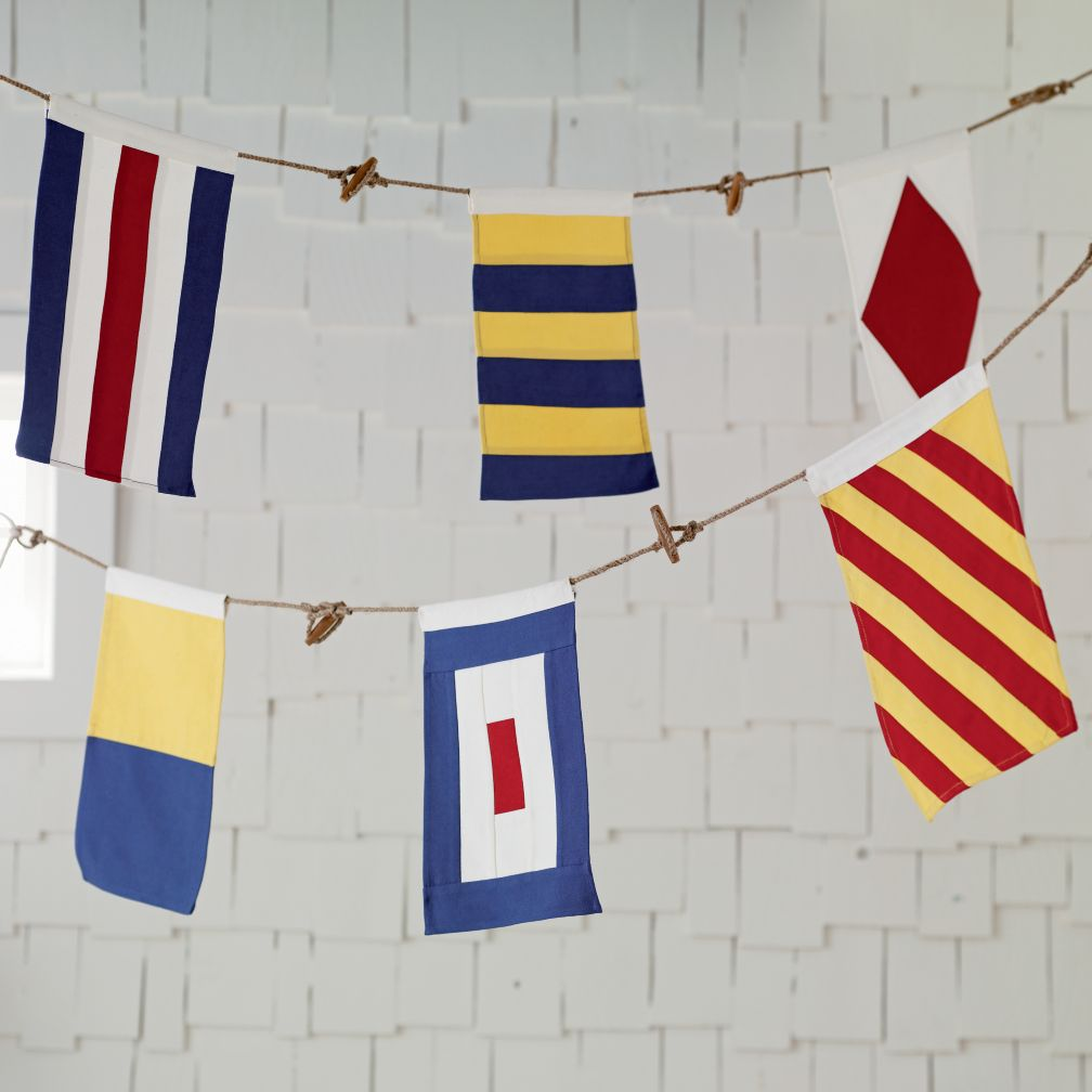 Nautical themed bedroom for boys - Boys Shared Bedroom Ideas Land Nod Nodical Nautical Flag Banner