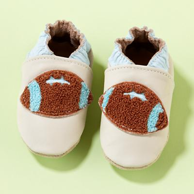 0-6 mos. Blue Football Booties<br /><br />4.25""